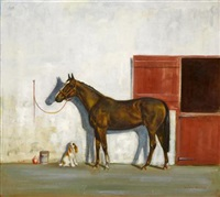 a chestnut brown hunter and a cocker spaniel outside a stable by gordon rettew