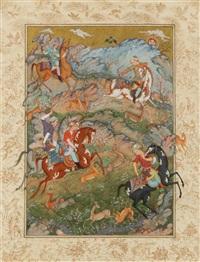 scène de chasse au fauconnier by abbas moayeri
