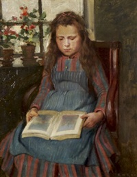 the artists daughter asleep while reading by ernest higgins rigg