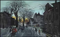 street at twilight by molly joan lamb bobak