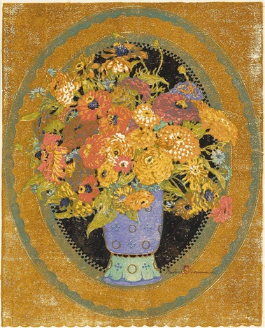 oval still life zinnias by gustave baumann