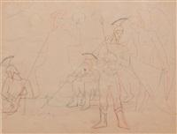 la résurrection, étude pour la décorationde la chapelle saint-blaise-des-simplesde milly-la-forêt (study) by jean cocteau