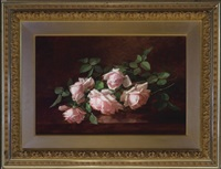 five pink roses in full bloom by anna eliza hardy