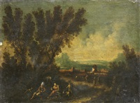 figures resting in a landscape with a walled town in the distance by antonio francesco peruzzini
