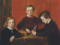 the young microscopists - portrait of frank, harry and arthur izod richards by john edgar williams