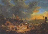 elegant figures inspecting the catch on a beach with sailing barges and shipping beyond by lucas smont the younger