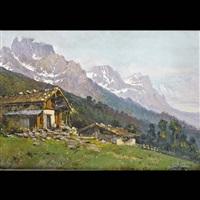 veduta alpina con baite by liverani
