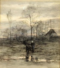 wood gatherers returning home by maria philippina bilders-van bosse