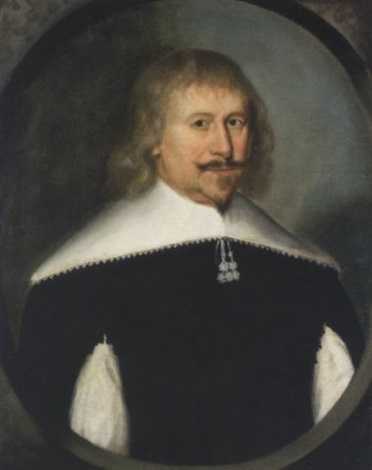 portrait of a gentleman in a slashed black doublet with a white collar by gilbert jackson