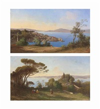views of the bosphorus (pair) by charles théodore (frère bey) frère
