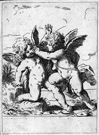 lotta di due cupidi e madonna con bambino e san giovannino (2 works) by lorenzo loli