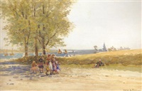children on a country path near montrose by robert weir allen
