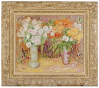 vases with flowers by lillian mackendrick