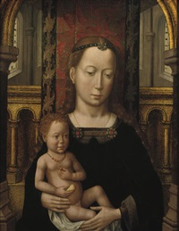 the virgin and child seated in a church interior by master of ildefonso