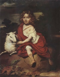 portrait of young boy with a sheep, on a rock, a wooded landscape beyond by jan de baen