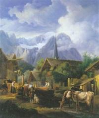 un village des alpes suisses animé de personnages et d'animaux by isidore dagnan