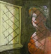 interiör med kvinna vid fönster by kjell aslund