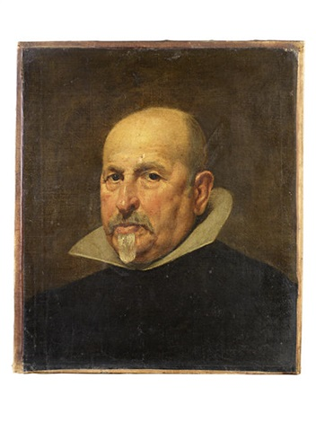 portrait of a gentleman in a black tunic and white golilla collar by diego rodríguez de silva y velásquez