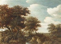 peasants fishing off a bridge in a wooded landscape by guillam dubois