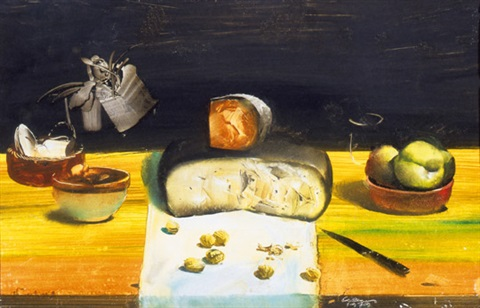 still life with cheese and apple by tibor csernus