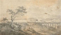 paysage animé au viaduc dans les environs de l'abbaye de cava en sicile by claude louis châtelet