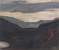 helle wolken über einer dunklen landschaft by leopold hauer
