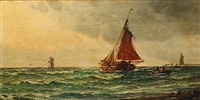 coastal scene with sailing boats by vilhelm victor bille