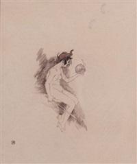 jeune femme nue au chapeau à grelots, assise de profil by armand rassenfosse