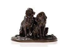 dogs with puppy by alfred jacquemart