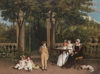 portrait of a family group in a garden setting (family of james stuart mckenzie?) by charles allingham