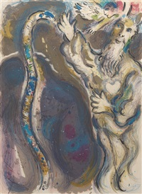 god turns moses' staff into a serpent by marc chagall