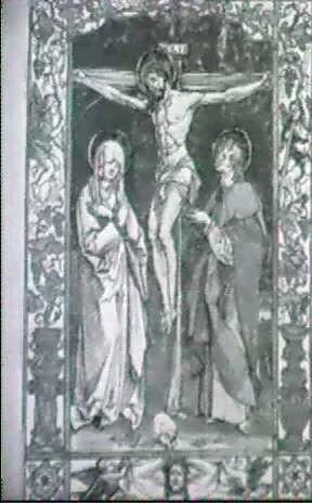 christus am kreuz zwischen maria und johannes winkler hans von kulmbach kulmbach 1959 p 42 by hans suess von kulmbach