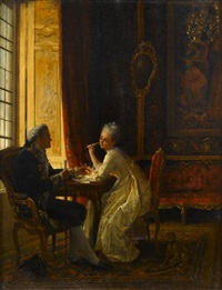 woman and man at table by ernest gustave girardot
