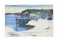 houses along the inlet on snow-covered ground by william zorach