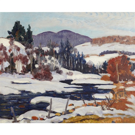 winter landscape quebec by randolph stanley hewton