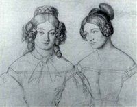 portrait of two ladies by fritz kriehuber
