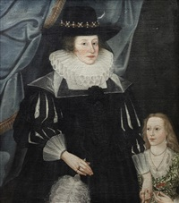 portrait of catherine babington and her daughter lucy, standing before a blue curtain by edward bower