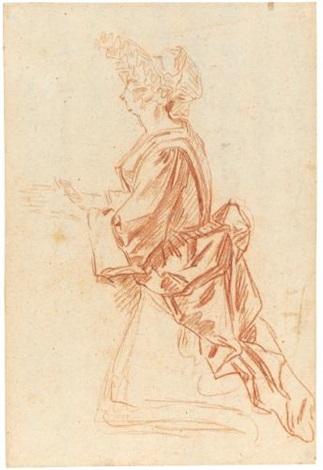 a kneeling woman praying seen from the side by jean antoine watteau