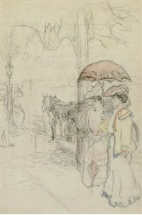 elegant ladies out for a stroll (+ a woman in fright, pencil; pair) by alphonse legros