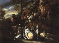 nature morte au panier de fruits, canard, bécasse et petit chien napolitain by aniello ascione