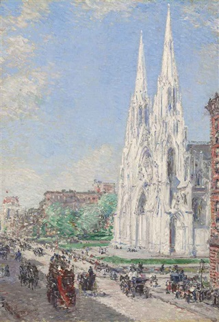 the cathedral and fifth avenue in june by childe hassam