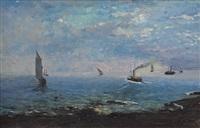 marina con barche e vaporetto by andrea figari