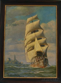 full-rigged ship along the coast by t. bailey