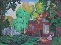 femme lisant au jardin by aleksei ilych kravchenko