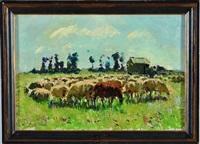 moutons dans la plaine de caen by louis edouard garrido