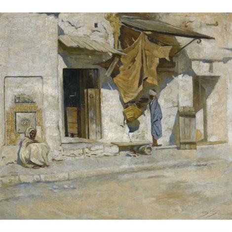 orientalist street scene north africa by symeon sabbides