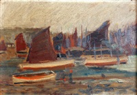 the fishing fleet, low tide by louis augustus sargent