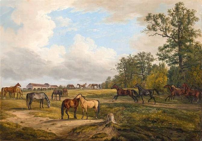pferde auf der koppel, im hintergrund ein gestüt by albrecht adam