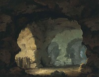 a sea cave interior with figures and boats (after jacques courtois) by william hodges