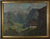 landschaft mit bauernhof, im hintergrund mit gebirgsmassiv by carl gödel